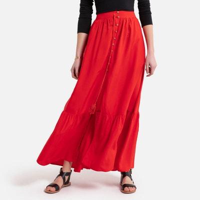 Lange rok met strik en knopen, smokwerk onderaan Lange rok met strik en knopen, smokwerk onderaan MOLLY BRACKEN