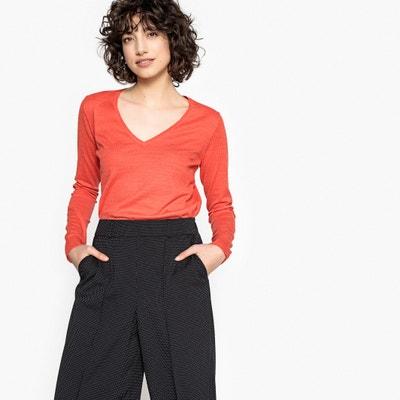 15a0cd32a1c Пуловер с V-образным вырезом и длинными рукавами из тонкого трикотажа