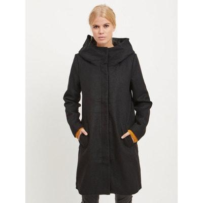 Manteau long en laine avec capuche | La Redoute