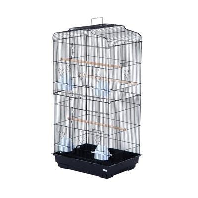 Cage à Oiseaux Avec Mangeoires Perchoirs 48 X 36 X 91 Cm Noir   HOMCOM Cage
