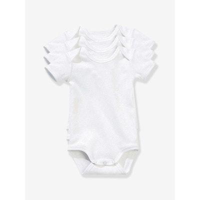 Lot de 3 bodies bébé pur coton blanc manches courtes VERTBAUDET 6122bf27d1c