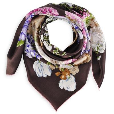 55f38f655a1 Carré de soie Premium Arabesque florale marron - 85x85 cm ALLEE DU FOULARD