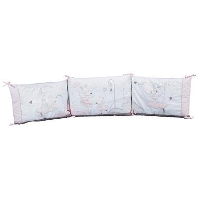 Tour de lit bébé déhoussable Blanc et Rose Lilibelle Sauthon Tour de lit  bébé déhoussable Blanc c3d2a4cee91