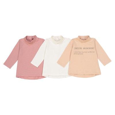 3b0c31ad23b93 Lot de 3 t-shirts col roulé 1 mois - 3 ans LA REDOUTE COLLECTIONS