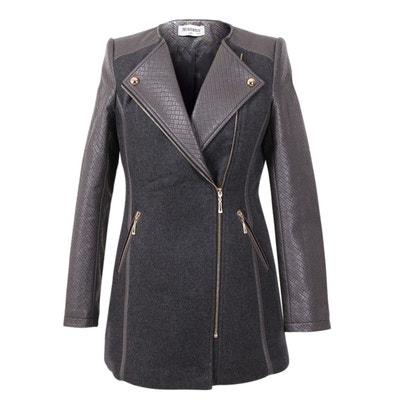 Manteau drap de laine noir LE TEMPS DES CERISES femme CLARRA black