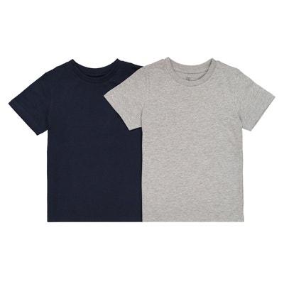 e0bb6f8aafbac Lot de 2 t-shirts unis 3-12 ans Lot de 2 t-