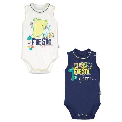 b718325a3b16b Lot de 2 bodies débardeurs bébé garçon Cuba Fiesta PETIT BEGUIN