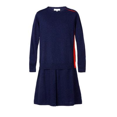 4381ad38aa3 Robe chic manche longue tendance en maille de laine et de cachemire Robe  chic manche longue