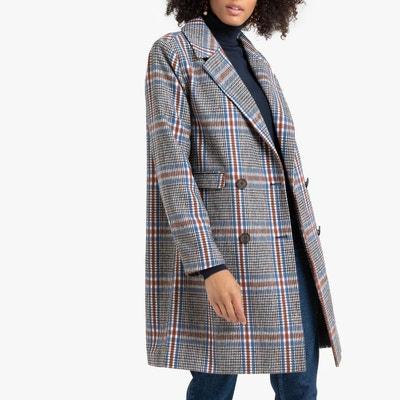 Manteau masculin mi-long imprimé à carreaux Manteau masculin mi-long imprimé à carreaux LA REDOUTE COLLECTIONS