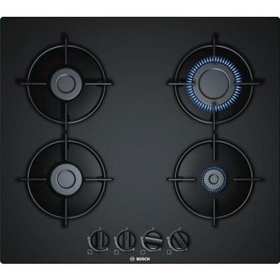 1f20bba69f405a Table de cuisson gaz 60cm 4 foyers verre noir BOSCH PNP6B6B10 BOSCH