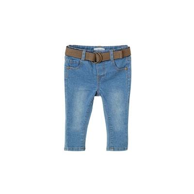 ad57a87fe7fa Jean slim bébé garçon avec ceinture en toile bicolore VERTBAUDET