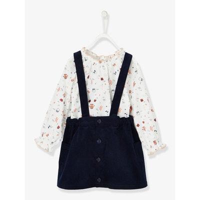 Ensemble blouse imprimée + jupe velours à bretelles bébé fille Ensemble  blouse imprimée + jupe velours. Soldes. VERTBAUDET 2c488fa07be