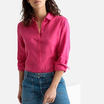 7e389aa7e Camisa recta de lino con manga larga LA REDOUTE COLLECTIONS