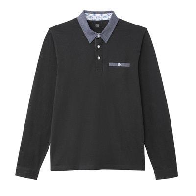 f4658a16e8 Polo en coton jersey, col en chambray contrasté Polo en coton jersey, col en