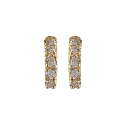 Boucles d oreilles Demi Créole Blanc Plaqué Or 750 SO CHIC BIJOUX a4a3b9bc9822