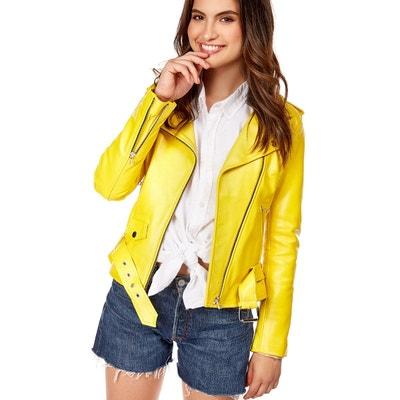 Veste en cuir jaune