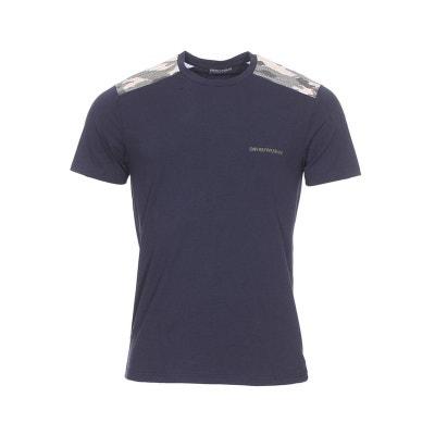 74d7478964cb Tee-shirt col rond en coton stretch nuit à détails camouflage Tee-shirt col.  EMPORIO ARMANI
