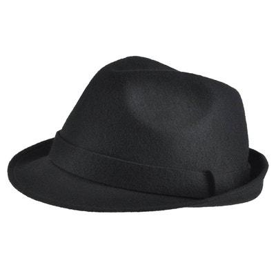 85898d4e45b6a Chapeau feutre laine Trilby Noir MOKALUNGA