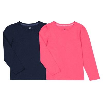 66c4b1341c073 Lot de 2 T-shirts manches longues unis 3-12 ans Lot de 2