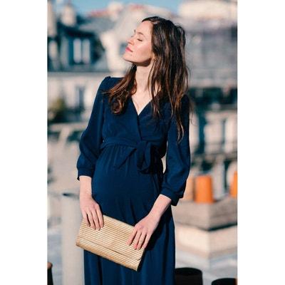 164f9d78a9 Robe longue de grossesse et allaitement noeud PAGODA Robe longue de  grossesse et allaitement noeud PAGODA
