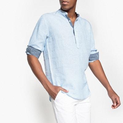 395adb55e50 Рубашка классическая с круглым вырезом и разрезом спереди из льна Рубашка  классическая с круглым вырезом и