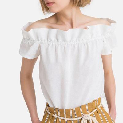 573a4927740 Linen Mix Off-the-Shoulder Blouse Linen Mix Off-the-Shoulder Blouse