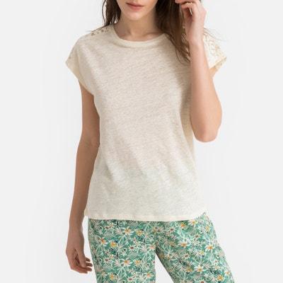 c13515145de Pyjama bovenstuk in linnen met detail in kant LA REDOUTE COLLECTIONS