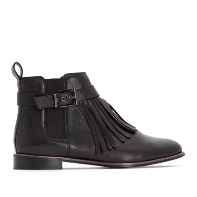 Boots en cuir à détail frange pied large 38-45 Boots en cuir à détail 4ced64780ea