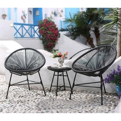 Ensemble De Jardin Acapulco Gris 2 Fauteuils Oeuf Et Une Table Basse CONCEPT USINE