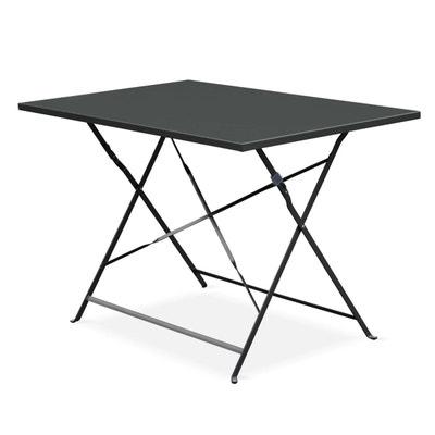 9c689a43e4f3f1 Table de jardin bistrot pliable - Emilia rectangle anthracite- Table  rectangle 110x70cm en acier thermolaqué