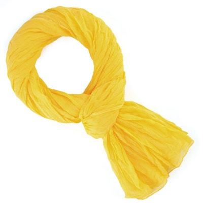Chèche coton jaune bouton d or uni ALLEE DU FOULARD 53c996eaece