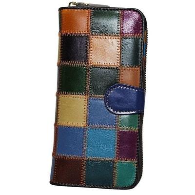 Portefeuille compagnon cuir patchwork Portefeuille compagnon cuir patchwork  CHAPEAU-TENDANCE 8bfa1c2e2b2