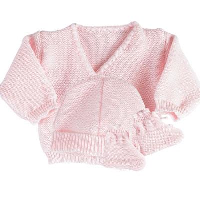 Ensemble 3 pièces fille - Brassière bébé laine, bonnet et chaussons  Ensemble 3 pièces fille 16c23f421db