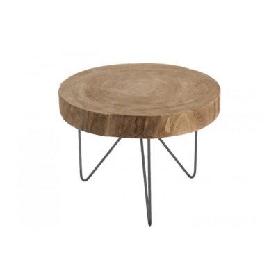 Table Basse Ronde En Bois Et Métal   Diamètre 50cm Table Basse Ronde En  Bois Et