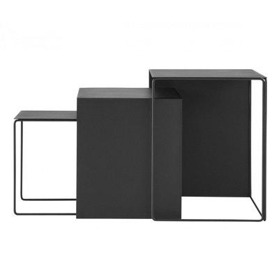 3 Tables Basses Noires Cluster Gigognes Ferm Living 3 Tables Basses Noires  Cluster Gigognes Ferm Living