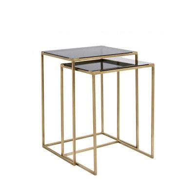 9df5fb4e69581e Lot de 2 tables gigognes en verre et métal Bakke Lot de 2 tables gigognes en
