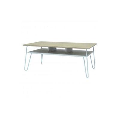 Table Basse Industrielle Bois et Métal Blanc FARAH DECLIKDECO 371a7c919180