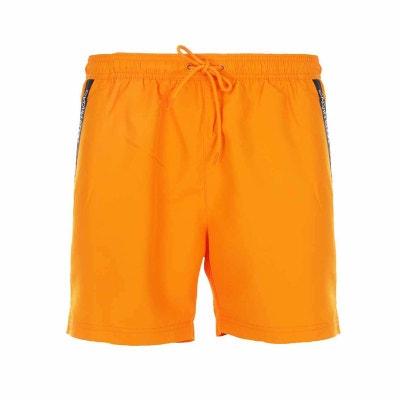 85447e54cc2 Short de bain Calvin Klein orange fluo à liserés logotypés en Short de bain Calvin  Klein