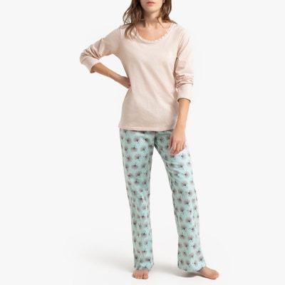 Pyjama met lange mouwen in twee stoffen Pyjama met lange mouwen in twee stoffen LA REDOUTE COLLECTIONS