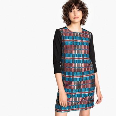 14ab96a36f7 Платье короткое прямое с рисунком в клетку и рукавами 3 4 Платье короткое  прямое с