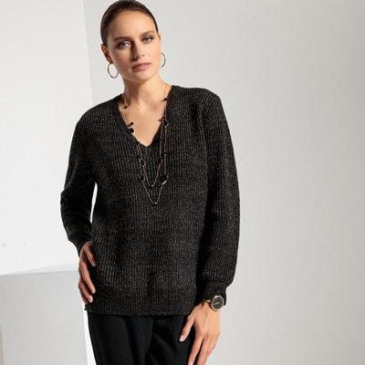 f1a4e3a24537 Metallic Loose Fit V-Neck Jumper Sweater ANNE WEYBURN