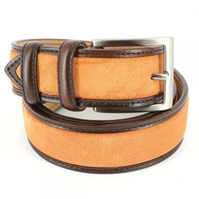 Ceinture cuir, Cuir et Daim orange, 35mm bords surpiqués Ceinture cuir,  Cuir et 0cd9e33d22b