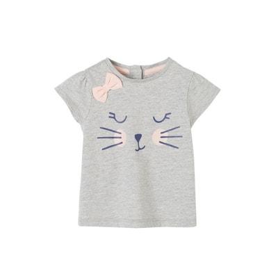 c23ef991be160 T-shirt frimousse bébé fille à motif et noeud VERTBAUDET