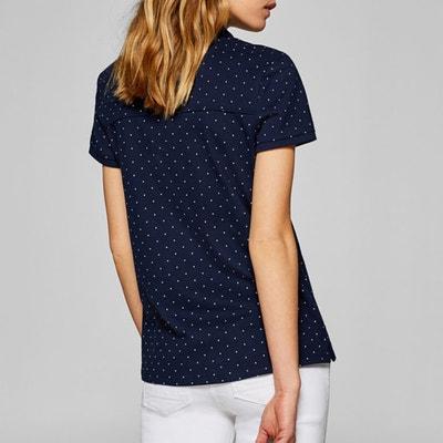 f6e1173380 Polka Dot Print Short-Sleeved Polo Shirt ESPRIT