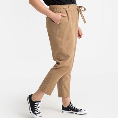 Pantalon slim lin mélangé Pantalon slim lin mélangé CASTALUNA d7c499dd037