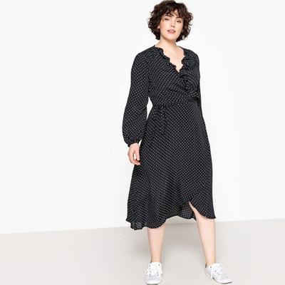 ea4a8ba384b Polka Dot Print Long Wrapover Dress CASTALUNA PLUS SIZE