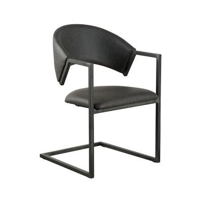 Chaise Avec Accoudoirs Tissu Microfibres Gris Et Pieds Metal Noir 53x81x54cm