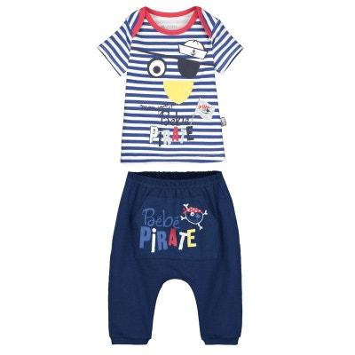 57f0af0bb5de1 Ensemble bébé garçon t-shirt + sarouel Bébé Pirate PETIT BEGUIN