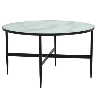a5e34cd117f Table basse ronde Alaska en verre effet marbre et RENDEZ VOUS DECO
