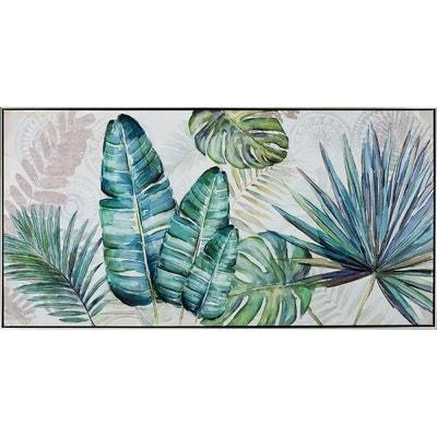 Tableau Fleur Feuilles Tropicales Variées Tons Bleu Vert 72,5x142,5 Tableau  Fleur Feuilles